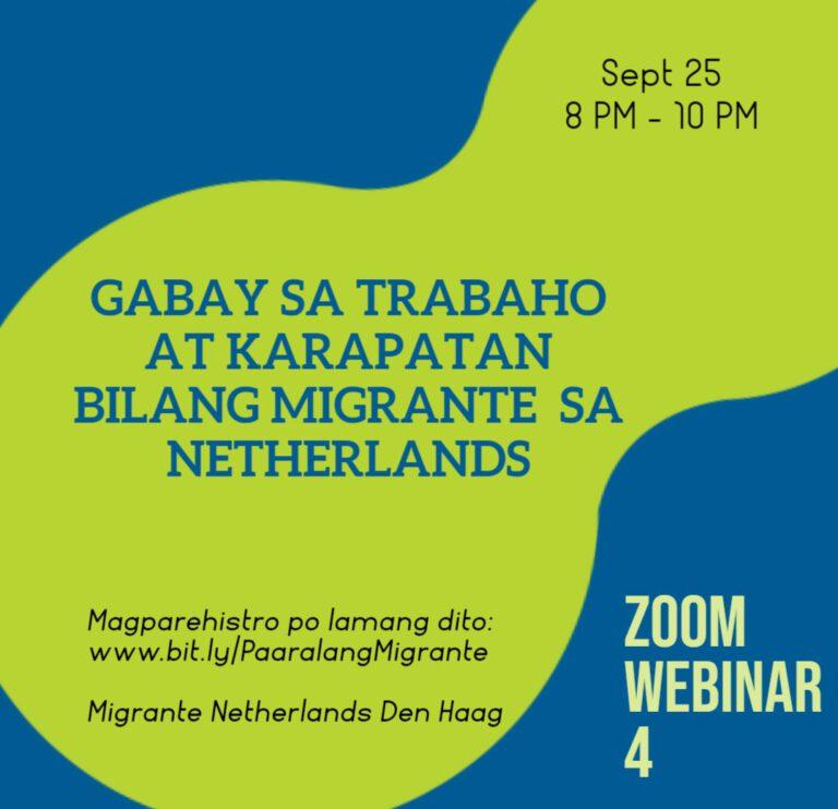 Paaralang Migrante Webinar: Trabaho at Karapatan bilang Migrante sa Netherlands